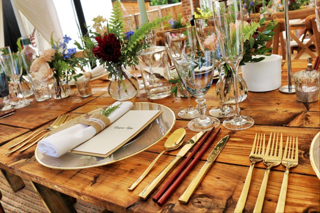 dinner setting gourmet catering